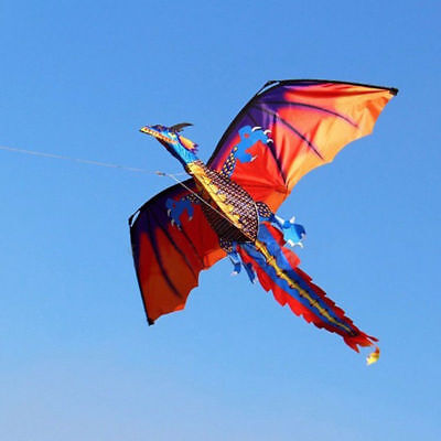 Large 3D Classical Flying Dragon Kite 140 120Cm Line Tail Outdoor Kids Play Toy