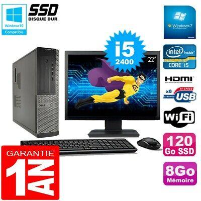 PC DELL 3010 DT Core I5-2400 Ram 8Go Disque 120Go SSD Graveur Wifi W7 Ecran 22