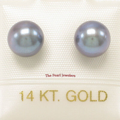 AAA 6.5-7mm High Luster Black Cultured Pearl Stud Earrings 14k Yellow Gold - 7mm Cultured Pearl Stud Earrings