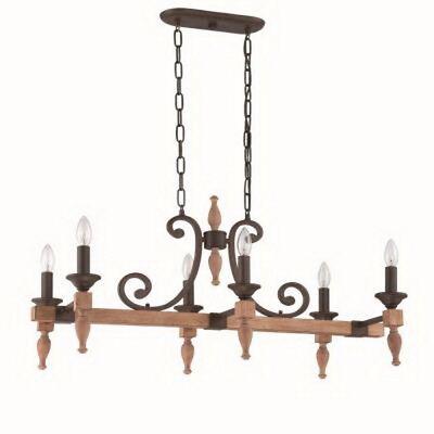 Craftmade Glenwood Aged Bronze and Distressed Oak 6 Light Chandelier/Island ()