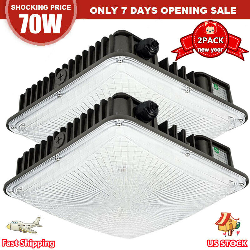 2 Pack 70w Led Canopy Light for Gas Station Led Outdoor Garage Lamp High Bright