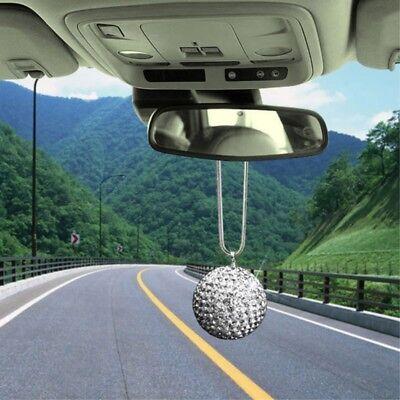 Disco Ball Rear View Mirror Pendant Crystal Charm Ornament Car Accessories Silve