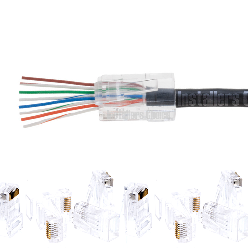 50pcs RJ45 Modular UTP Plug Network Connector Cat5 Cat5e Cat6 Solid Cable Heads