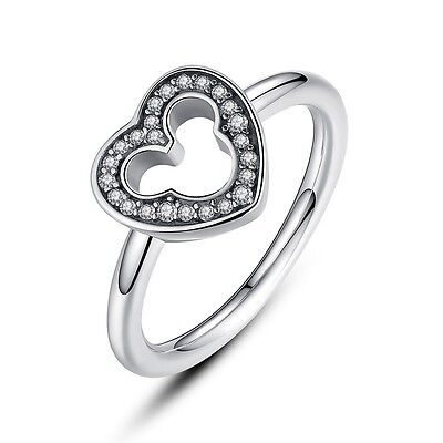 Genuine 925 Sterling Silver Ring With Disney Mickey Mouse Silhouette Hearts Ring - Mickey Ring