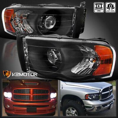Black 2002-2005 Dodge Ram 1500 03-05 Ram 2500 3500 Retrofit Projector Headlights
