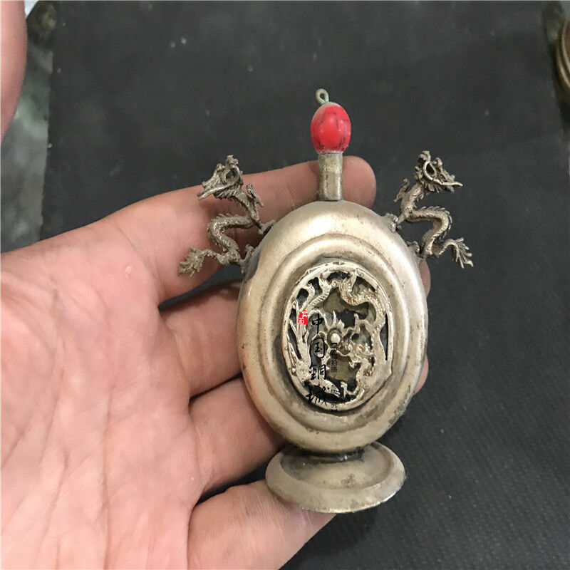 China old bronze double ear dragon Snuff Bottles Collection