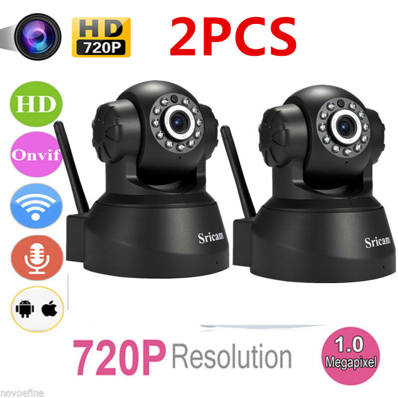2x Wireless 720P Pan Tilt WiFi IP Camera Network CCTV Security IR