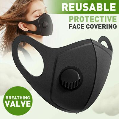 FACE MASK - UK  SELLER FILTER VALVE washable reuseable black