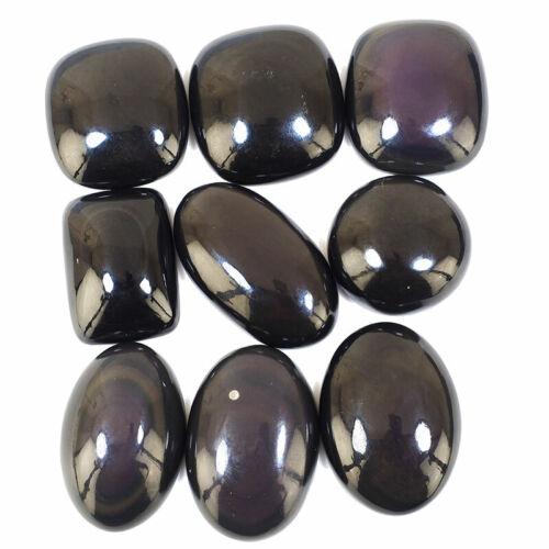 9 Pcs Natural Black Obsidian Superb Quality Glossy Huge Gemstones Lot 30mm-43mm
