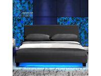 Single Size Bed Frame With LED Black PU Leather Modern Home Bedroom Furniture