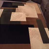 Brown, beige and Green Area Rug