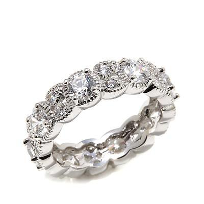 - STERLING SILVER  DIAMOND SIMULANT ART DECO VINTAGE STYLE ETERNITY RING SIZE 7