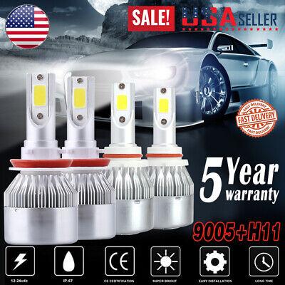 4PCS 9005+H11 LED Headlight High Low Beam Fog Light Bulbs Kit 100W 20000LM 6000K