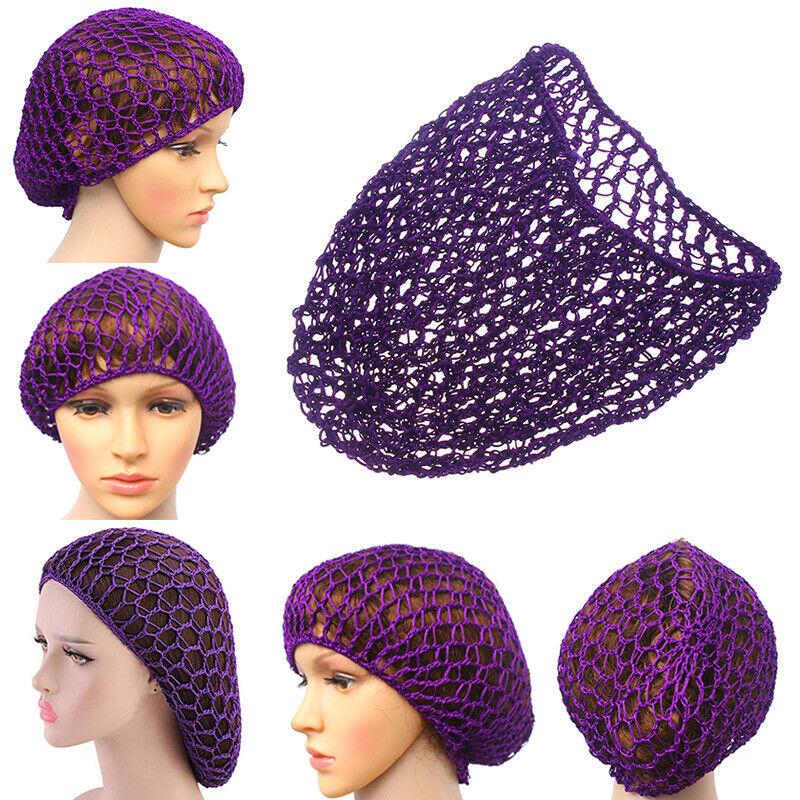 Womens Mesh Hair Net Crochet Cap Snood Sleeping Night Cap Cover Turban Headband#