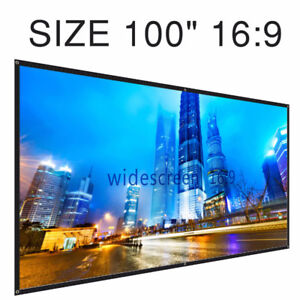 100 inch 16:9 Portable Projection Screen Home Cinema PVC Fabric