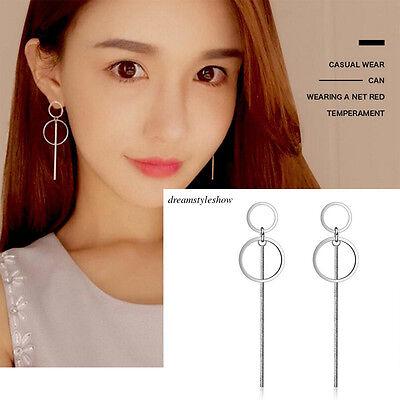 Korean 925 Sterling Silver Women Circle Long Drop Dangle Earrings Jewelry Gifts