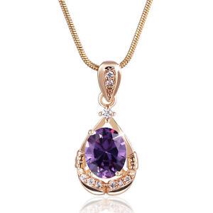 """médaillon or jaune 18k améthyste +diamants/strass Rhin 18""""/45cm"""