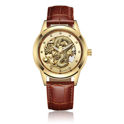Luxury Skeleton Dragon Automatic Mechanical Men Watch Leather Band Self -Winding ()