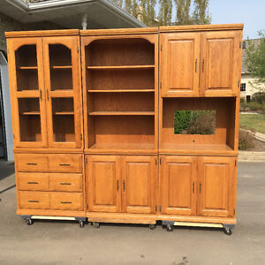 3 piece solid oak wall unit