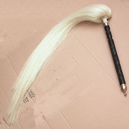 Wudang Taoism Taiyi Training Fuchen Horsetail Whisk Wood Handle 80 cm Tail #0942