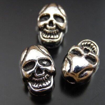 Antike Silber Ton SchädelKopf Perlen Legierung Schmuck Handwerk Charme 36 Stk