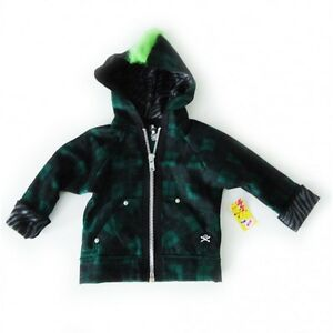 Green Mohawk and green baby skull plaid hoodie  TODDLER