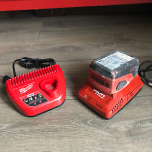 Hilti C 4/36-90 charger + B 18 battery and Milwaukee M12 charger