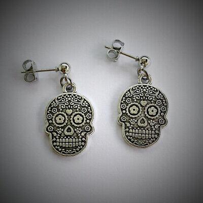 Sugar Skull Earring , Sugar Skull Charm, Gothic Gift, Halloween Gift