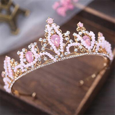 Deartiara Pink Crystal Princess Tiara Crown Wedding Birthday Party Headpiece  - Pink Tiara