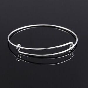 USA Style Expandable Bangle Bracelet Adjustable Wire Plain 2 Col
