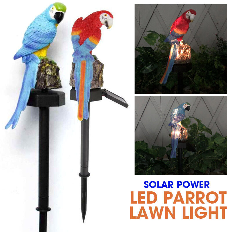 LED Parrot Lawn Light Solar Power Waterproof Garden Landscape Lamp Outdoor Decor