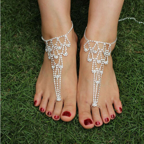 Barefoot Sandal Anklet Foot Chain Toe Ring Women Jewelry Bea