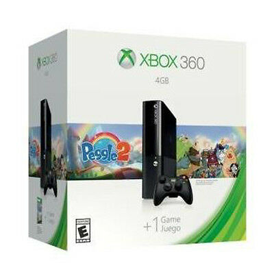 New Microsoft Xbox 360 4GB Game Console Black With Peggle 2 Game L9V-00051