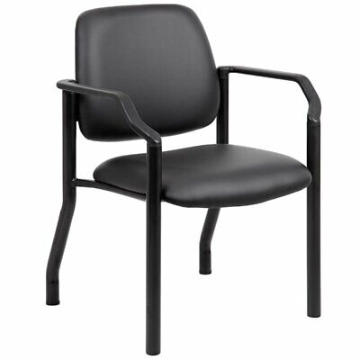 Boss Office Big And Tall Faux Leather Guest Chair In Black
