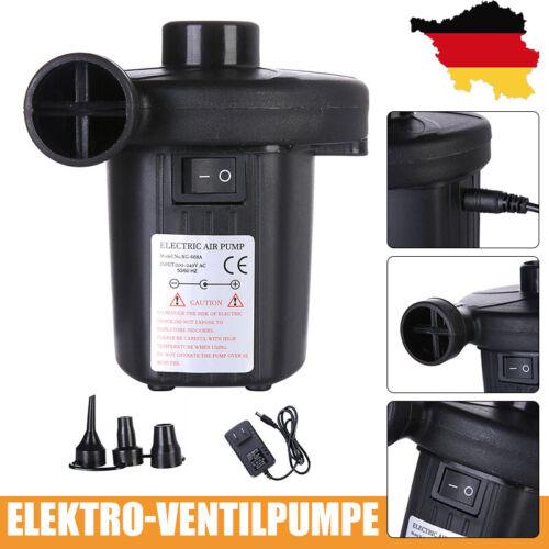 Elektrische Luftpumpe Elektropumpe 400 L/min Schwarz 2 in 1 mit 3 Düsenadaptern