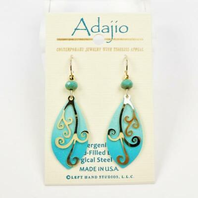 Adajio Earrings Blue and Aqua Teardrop with Shiny Gold Plated Swirl Overlay (Aqua Blue And Gold)