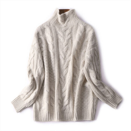 Womens Winter Ladies Tops Chunky Knitted Oversized Turtleneck Sweater Jumper NEW