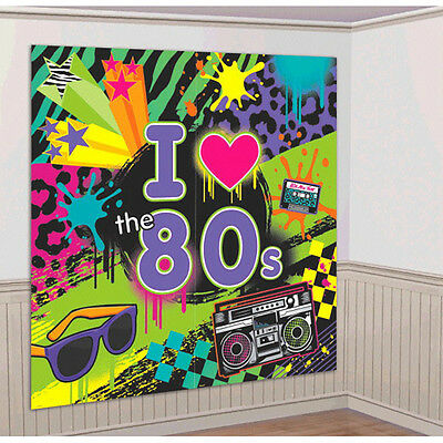 Totally 80s Scene Setter I Love 80s Disco Party Wall Decorating Kit Supply, - Disco Party