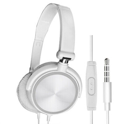 Wired Headphones with Microphone Over Ear Headsets Bass Sound Music Stereo