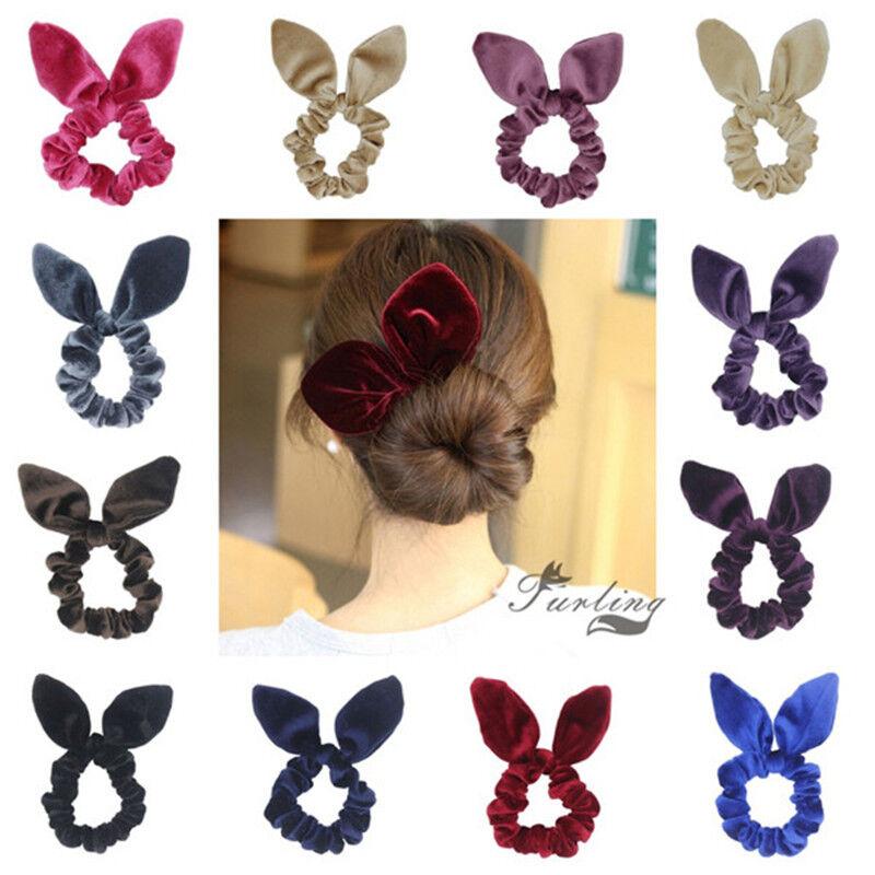 1pc Bunny Ear Bow Hair Scrunchies Ponytail Holder Hair Acces