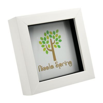 White 4x4 Deep Box Photo Picture Frame - Standing & Hanging