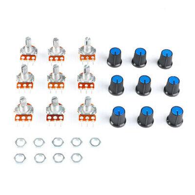 9 Pcs 15mm Linear Potentiometer Assortment Shaft 1k 2k 5k 10k 20k 100k 500k