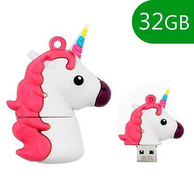 MEMORIA USB PENDRIVE USB FLASH 32GB DIBUJOS TEMATICO 3D UNICORNIO LAPIZ ANIMALES