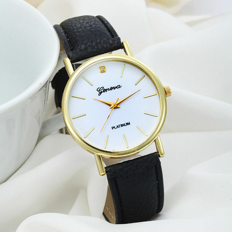 $38.99 - Geneva Luxury Gold Stainless Black Leather Women Lady Dress Fashion Quartz Watch