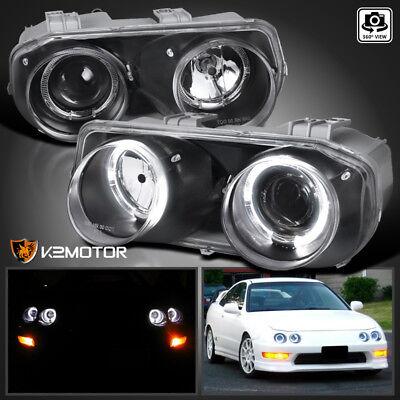 JDM Black 1994-1997 Acura Integra Halo Projector Headlights Left+Right (Acura Integra Halo Headlights)