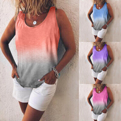 Womens Summer Tunic Tops Plus Size Gradient Casual Beach Tank Top T Shirt Blouse (Woman Shirts)