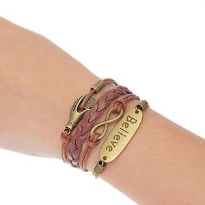 5 Bracelet Infini Believe Amitié Main Coeur Multi Rangs