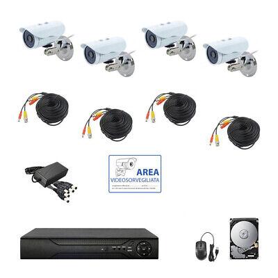 KIT VIDEOSORVEGLIANZA AHD IP CLOUD DVR 4 CANALI 4 TELECAMERE HD IR 2 MPX HD 320G
