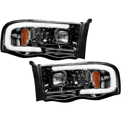 Recon Smoked Projector Headlights w/ OLED U-Bar For 03-2005 Dodge Ram 2500/3500