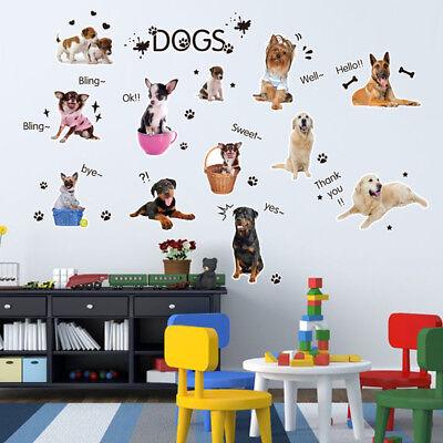 Puppies Dog Wall Stickers Mural Art 3D Decals Animals Wallpaper Decor For Kids